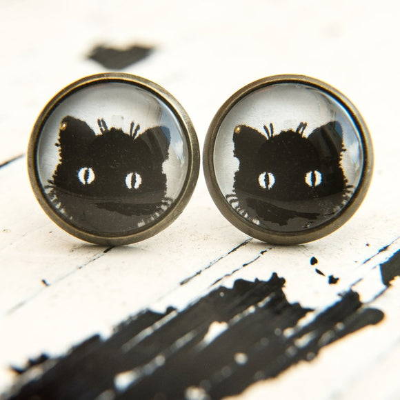 Cabochon Dangly & Stud Earrings / Natural Graphic Black Cat Face / Black And White