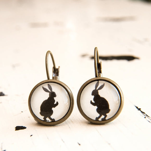 Cabochon Dangly & Stud Earrings / Natural Graphic Dancing Bunny / Black And White