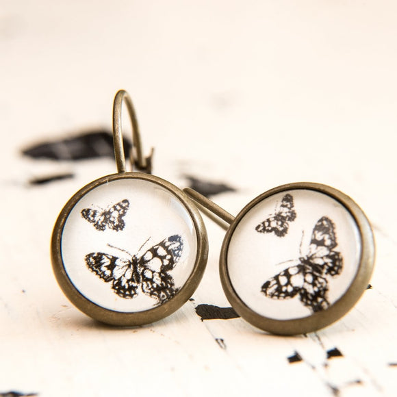 Cabochon Dangly & Stud Earrings / Natural Graphic Butterflies / Black And White