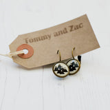 Cabochon Dangly & Stud Earrings / Natural Graphic Mountains / Black And White