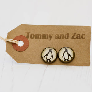 Cabochon Earrings Penguin