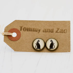 Cabochon Earrings Full Body Cat
