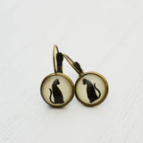 Cabochon Dangly & Stud Earrings / Natural Graphic Black Cat / Black And White