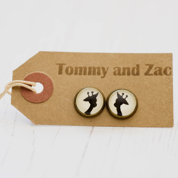 Cabochon Earrings Giraffe