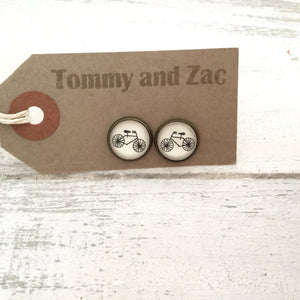 Cabochon Earrings Bicycle