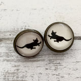 Cabochon Earrings Walking Cat