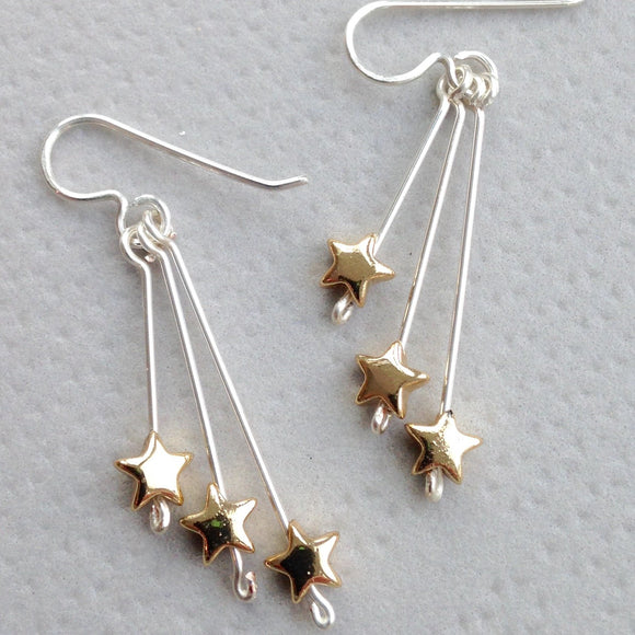 Star Drop Earrings - Gold Plated