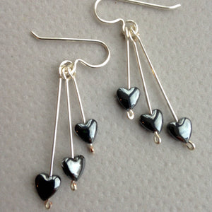 Heart drop earrings.