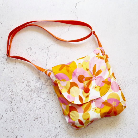 Orange and Pink Retro Reversible Shoulder Bag