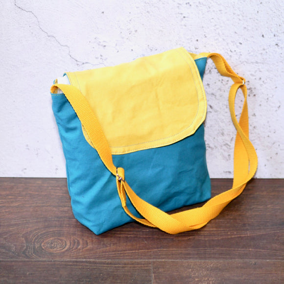 Canvas Shoulder Bag - Turquoise/Yellow