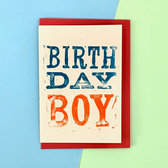 Birthday Boy Lino Print Card