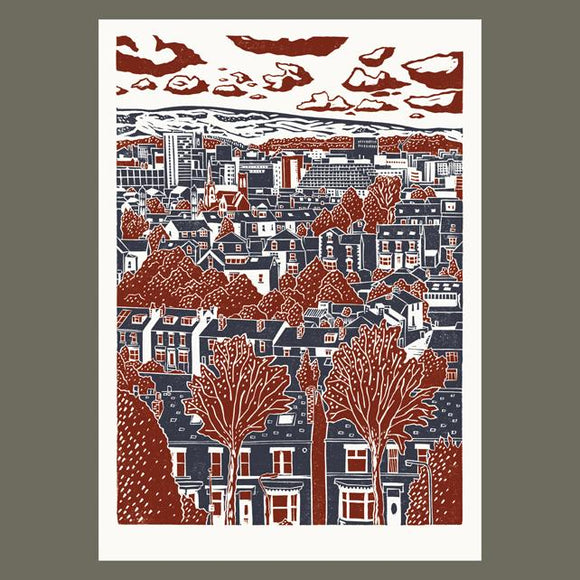 Sheffield City View No.4 linocut poster-print