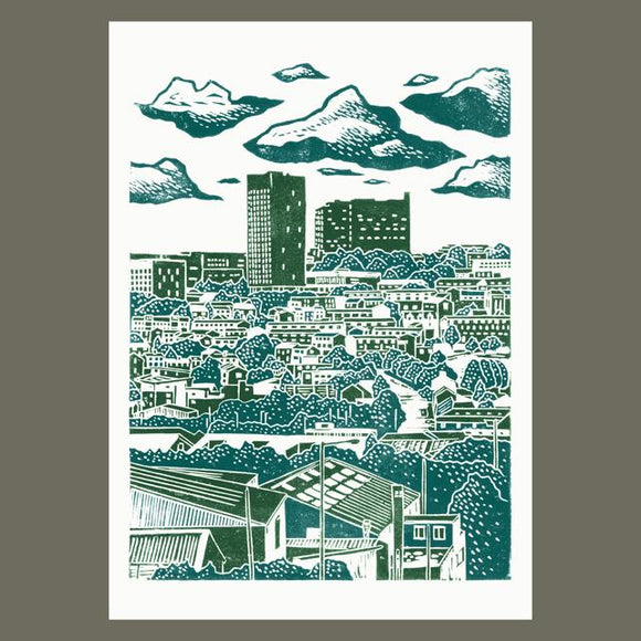 Sheffield City View No.6 linocut poster-print