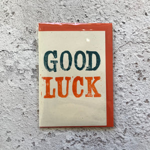 Good Luck Lino Print Card