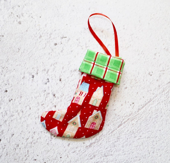 Christmas Stocking Tree Decoration - Gingerbread Houses