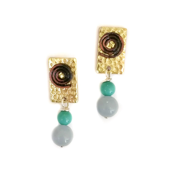 Brass Studs with Semi-Precious Stones