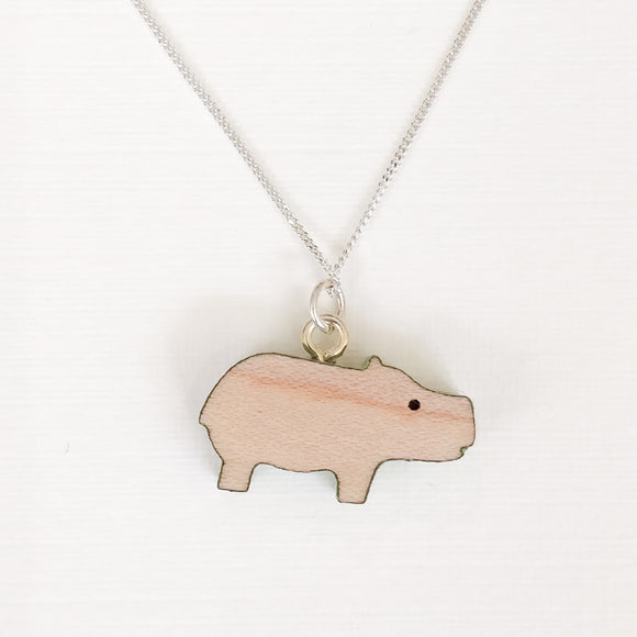 Hippo Necklace on Silver Chain