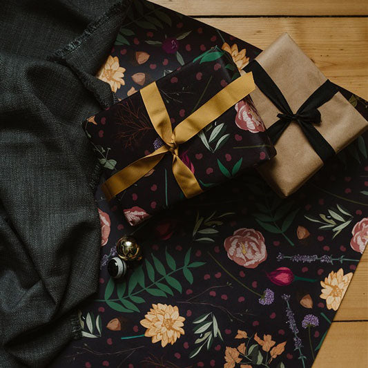 Juniper Dark Botanical Gift Wrap Sheet