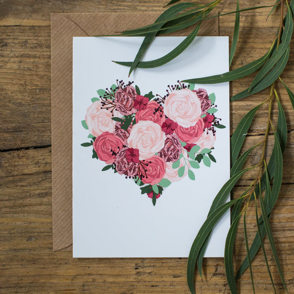 Flower Love Heart Card