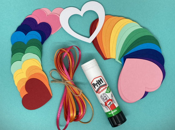 Heart Garland DIY craft kit - Rainbow
