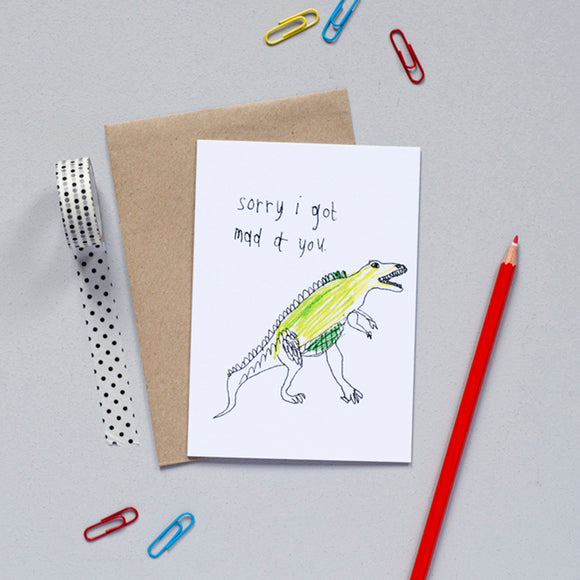'Sorry I Got Mad At You' Dinosaur Greetings Card