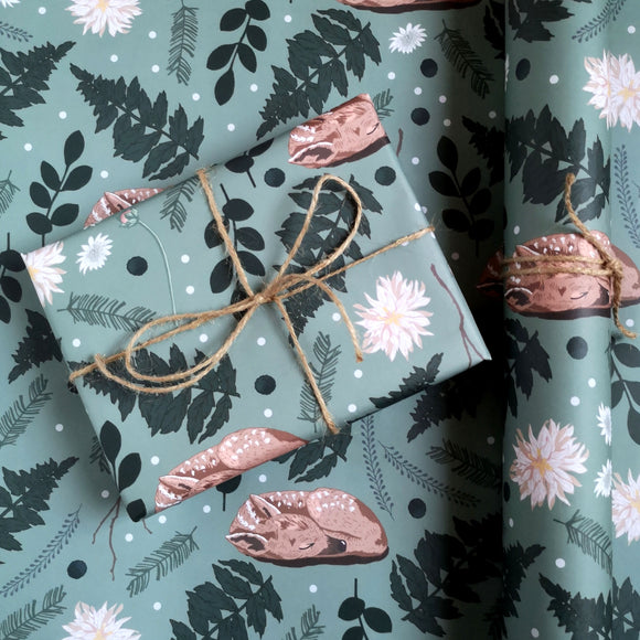 Fawn Botanical Gift Wrap Sheet