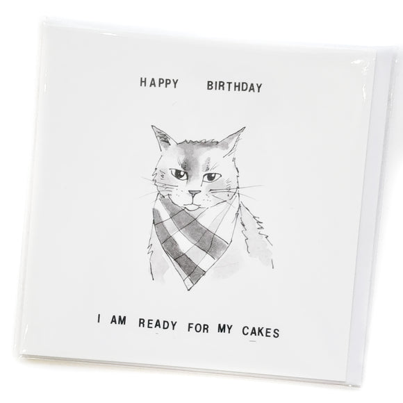 Lolcat card 04 - Happy Birthday I am ready for my cakes