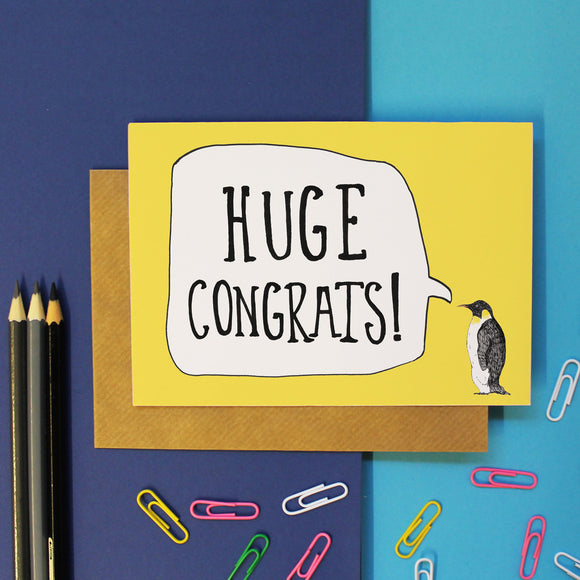 Huge Congrats Penguin Celebration Card