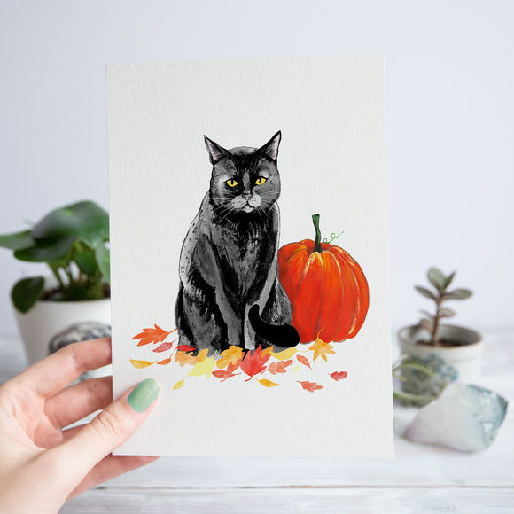 Cat with Pumpkin Print