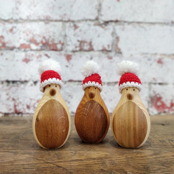 *Limited Edition* Wooden Penguin with Santa Hat