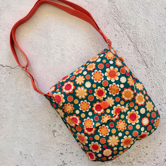 Orange Flowers Reversible Shoulder Bag