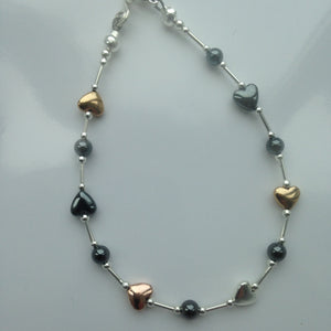 silver, haematite and plated haematite bracelet