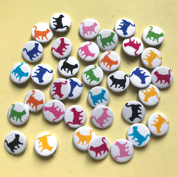 'Walking Cat' Fabric Badges