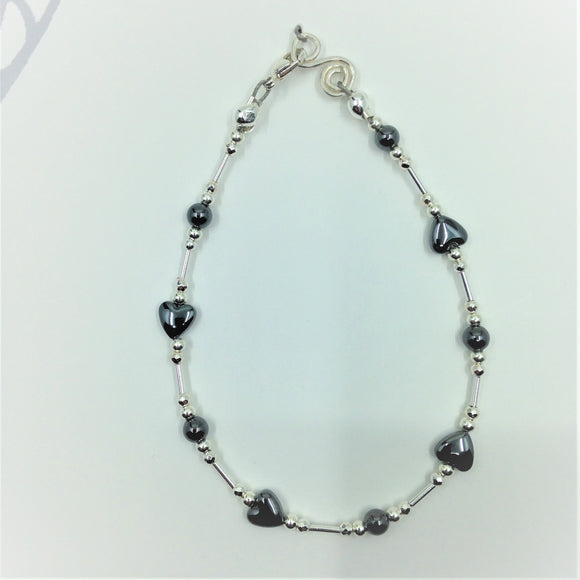 Sterling silver and haematite bracelet.
