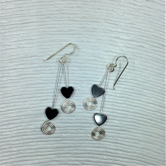 Haematite double drop earrings.