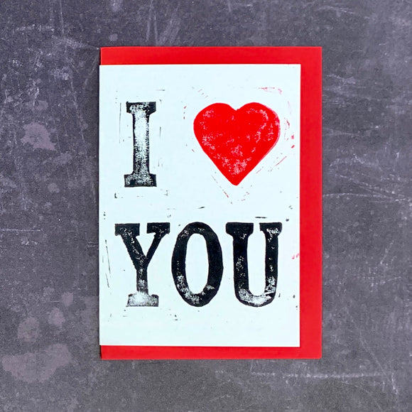 'I Heart You' Lino Print Card