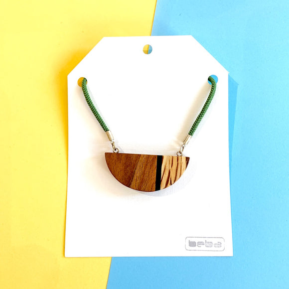 Wood and Perspex Half Moon Necklace - Green Stripe