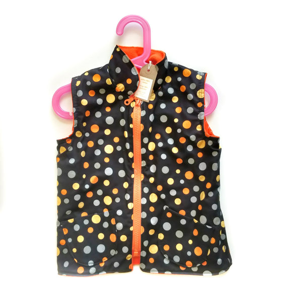 Age 3 Gilet - Orange Dots on Black