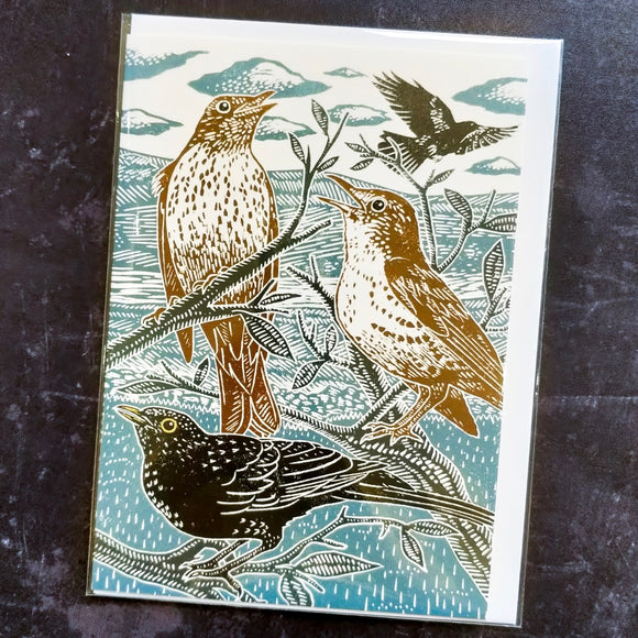 Blackbirds and Thrushes Lino Art Card