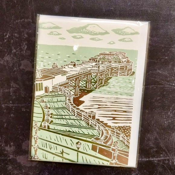 'The Pier' Lino Art Card