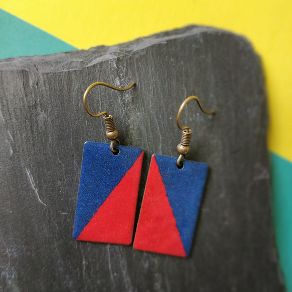 Red and Dark Blue Rectangle Enamel Dangly Earrings