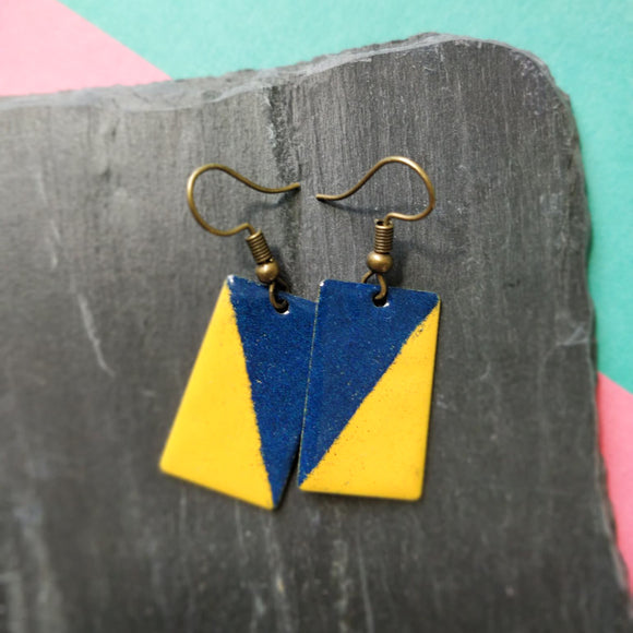 Mustard and Dark Blue Rectangle Enamel Dangly Earrings