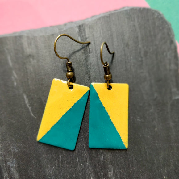 Teal and Mustard Rectangle Enamel Dangly Earrings