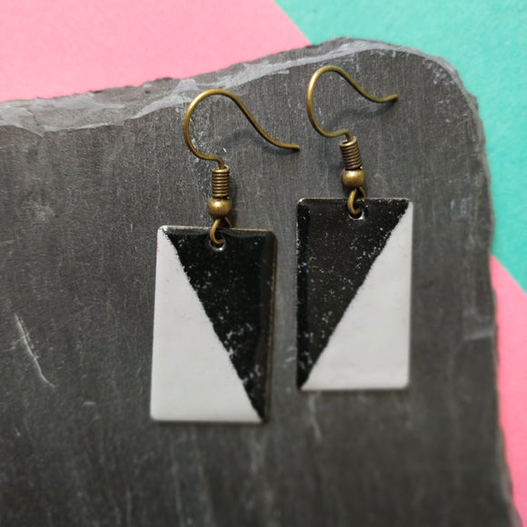 Black and Grey Rectangle Enamel Dangly Earrings