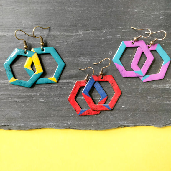 Hexagon Cut Out Enamel Dangly Earring