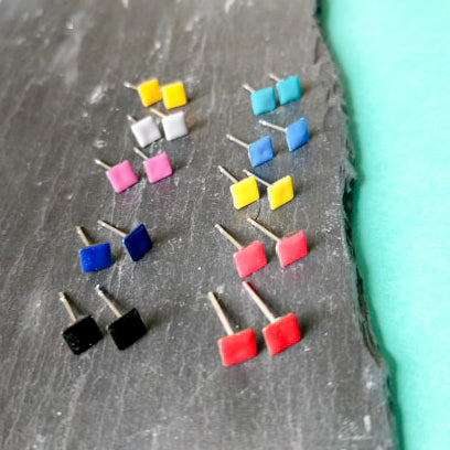Mini Square Enamel Stud
