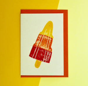 Rocket Lolly Lino Print Card