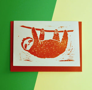 Sloth Lino Print Card