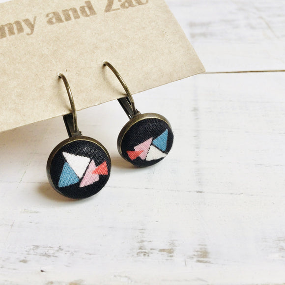 Cotton Earrings / Black Triangles