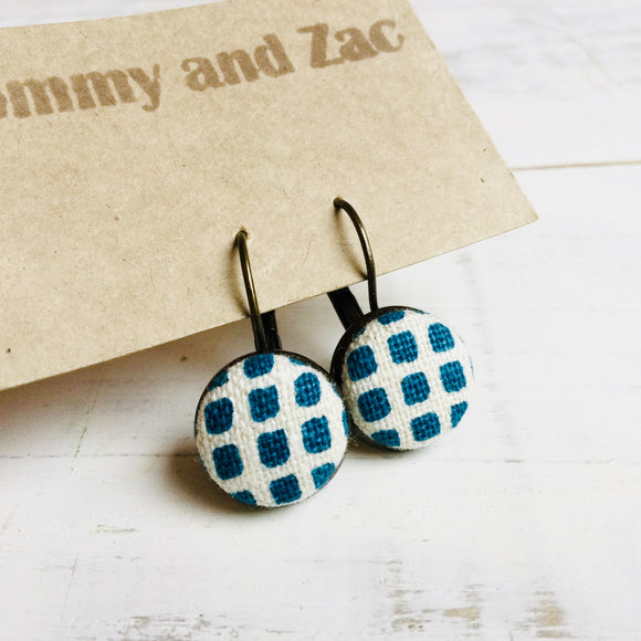 Japanese Fabric Earrings / Blue Check
